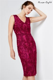 Phase Eight Magenta Constance Tapework Dress