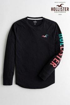Hollister Long Sleeve Graphic Logo T-Shirt