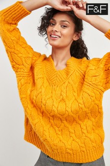 F&F Yellow Cable V-Neck Bardot Jumper