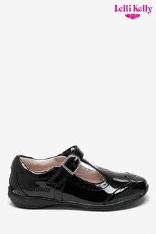 Czarne lakierowane buty Jennete Lelli Kelly z paskiem T-bar