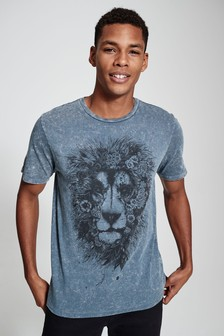 Acid Wash Lion Printed T-Shirt