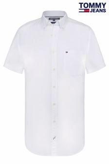Tommy Jeans White Stretch Poplin Short Sleeve Shirt