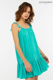Accessorize Green Lattice Insert Swing Dress