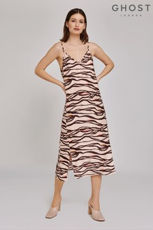 Ghost London Brown Heidi Zebra Print Satin Dress