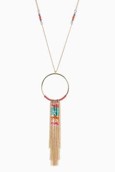 Multi Color Beaded Tassel Pendant Necklace