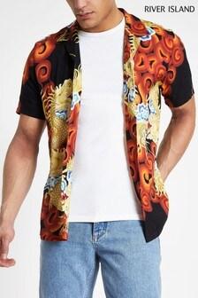River Island Black Dragon Print shirt