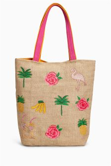 Tropical Embellished Shopper