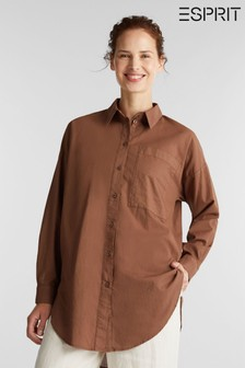 Esprit Brown Woven Long Sleeved Shirt