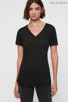 AllSaints Black Metallic Shimmer T-Shirt