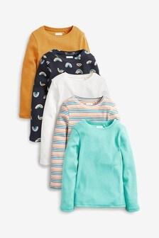 5 Pack Rainbow Rib Long Sleeve T-Shirts (3-16yrs)