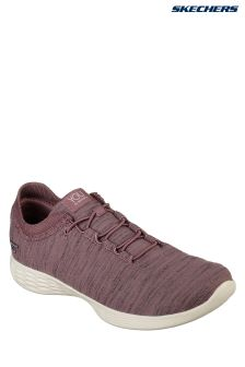 Skechers® Brown Heather Bungee Shoe With Knit Collar