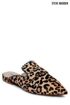 Steve Madden Leopard Wind Stud Loafer Mule