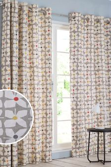 Retro Geo Floral Eyelet Blackout/Thermal Curtains