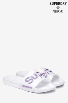 Superdry White Pool Slider