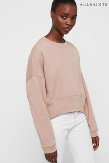 AllSaints Nude Pink Cropped Oversized Enrico Sweatshirt
