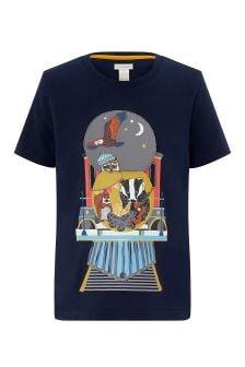חולצת טי של Monsoon דגם Talon Train Flipbook בנייבי