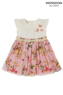 Monsoon Pink Baby Hummingbird 2 In 1 Dress