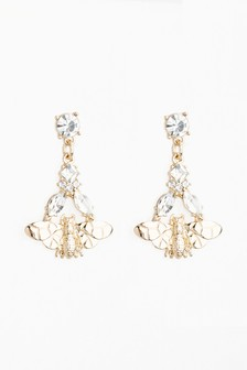 And Jewel Effect Bee Small Drop Earrings