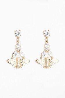 And Jewel Effect Bee Small Drop Earrings