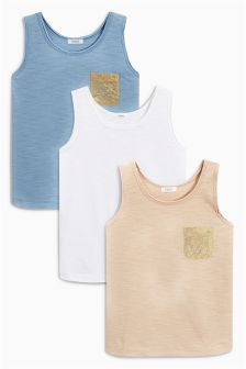 Metallic Pocket Vests Three Pack (3-16yrs)