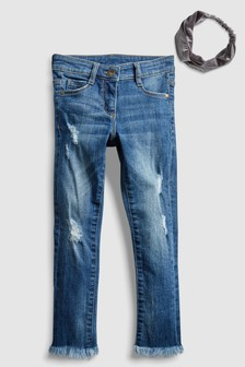 Skinny Jean With Fray Hem And Velvet Headband (3-16yrs)