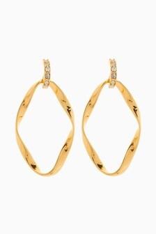 Abstract Metal Drop Hoop Earrings