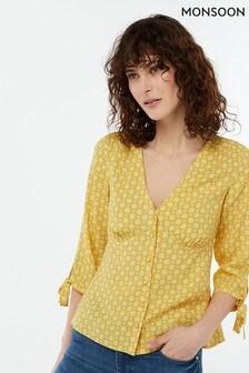 Monsoon Ladies Yellow Monica Print Blouse