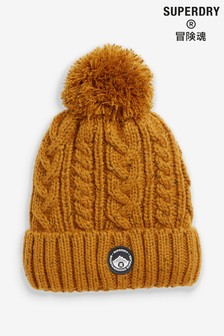 Superdry Brown Cable Beanie