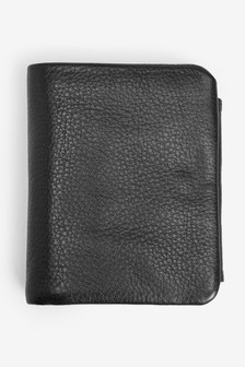Leather Zipped Pocket Trifold Wallet