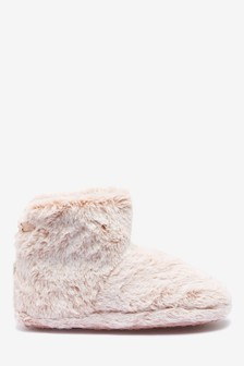 Frosted Faux Fur Slipper Boots