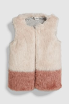 Colourblock Faux Fur Gilet (3-16yrs)