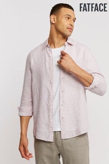 FatFace Pink Linen Micro Check Shirt
