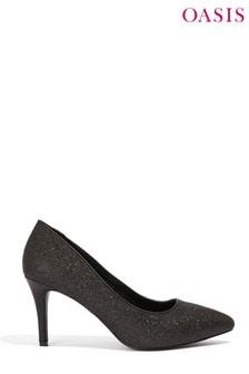 Oasis Black Glitter Carly Court Shoe