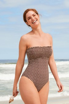 Shirred Bandeau Swimsuit