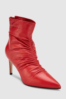 Dune Red Leather Oasis Pointed Ankle Boot