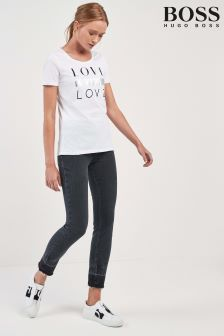 BOSS Black Washed Super Skinny Fray Hem Jean