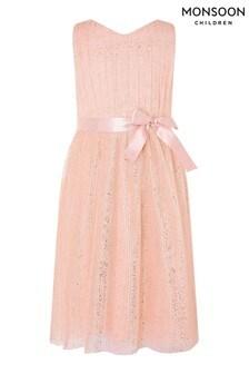Monsoon Pink Glitter Tulle Wrap Dress