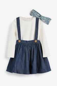 Комплект с топом с длинным рукавом, юбкой и повязкой на голову (3 мес.-7 лет)
