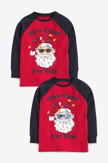 Christmas Raglan Sleeve Santa Graphic T-Shirt (3-16yrs)