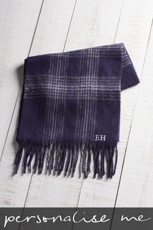 Personalised Navy Check Scarf