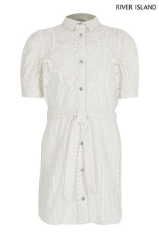 River Island White Older Girls' Broderie Shirt Dress