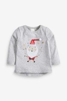 T-Shirt mit Pailletten-Weihnachtsmann (9Monate bis 7Jahre)