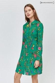 Warehouse Green Floral Mini Shirt Dress
