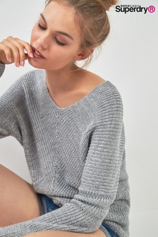 Superdry Grey Slouch V-Neck Knit