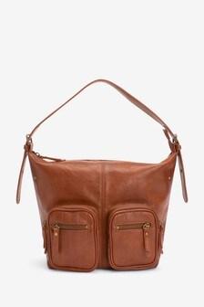 Zip Pocket Detail Hobo Bag