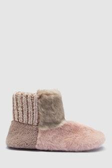 Faux Fur Patch Boots
