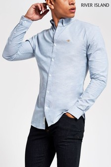 River Island Blue Muscle Oxford Shirt