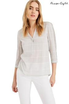 Phase Eight Grey Lynsey Check Blouse