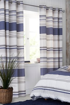 Blue Stripe Blackout Eyelet Curtains
