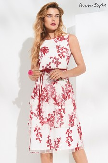 Phase Eight Ivory/Poppy Francine Ditsy Tiered Dress
